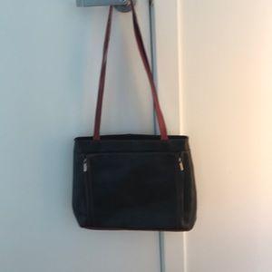 Handbags - Simons Ferri Leather Handbag in Navy with Red Trip